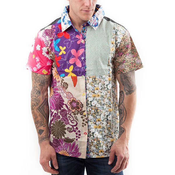 Short sleeved, Flower shirt, Part Shirt, Loud Shirt, Mutts Nuts, Shite Shirt, Loud Party Shirt, Pattern Shirt
